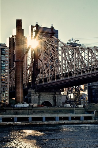 iPhone Wallpaper Queensboro Bridge, buildings, sunset, New York, USA