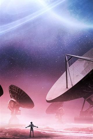 iPhone Wallpaper Radio telescopes, space exploration