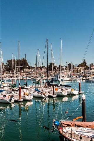 iPhone Wallpaper Santa Cruz, California, USA, bay, yacht, sail, ships, boats