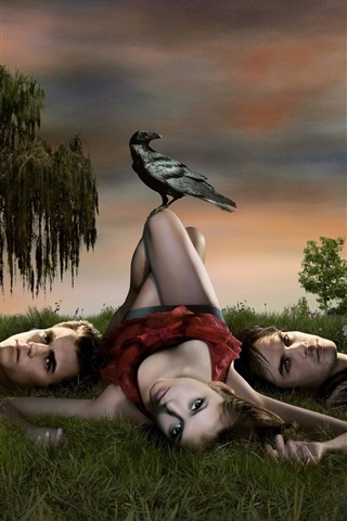 iPhone Wallpaper The Vampire Diaries, three vampires