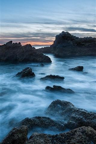 iPhone Wallpaper USA, California, ocean, beach, stones, sunset, blue