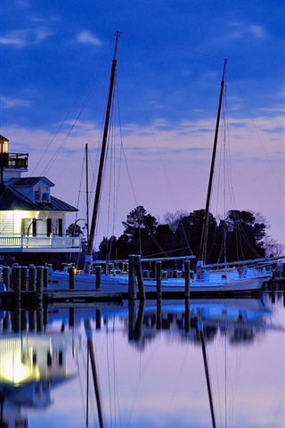 iPhone Wallpaper USA, Maryland, lighthouse, bay, night, blue sky, water reflection