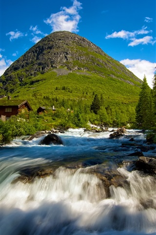 iPhone Wallpaper Valldal in Norway, waterfall, mountain cabins, trees