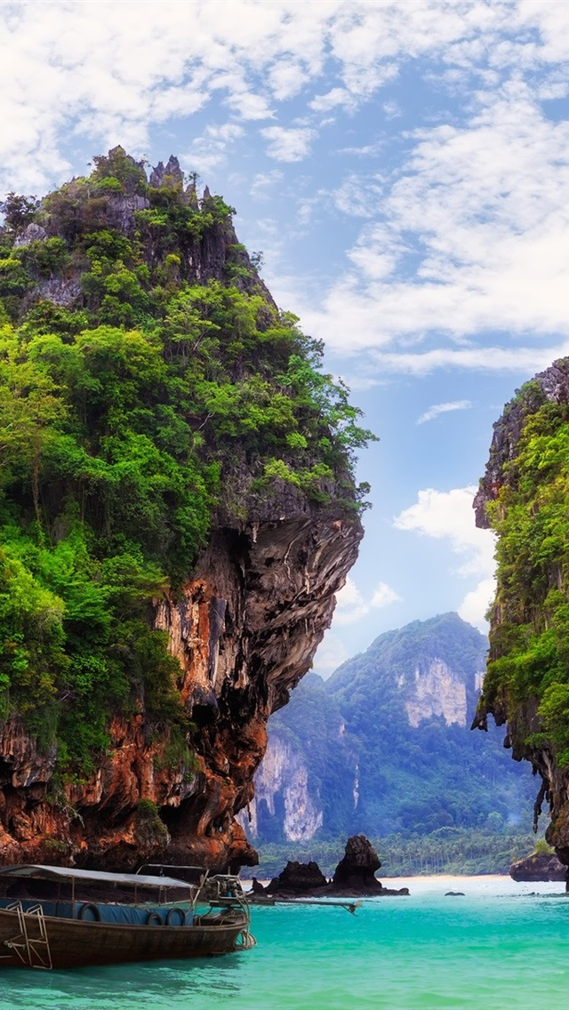 Ao Nang Krabi Thailand Bay Ocean Boat Rocks Mountains