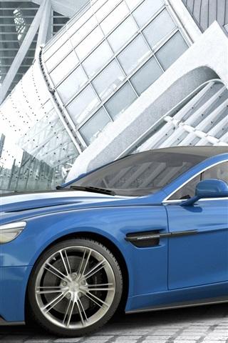 iPhone Wallpaper Aston Martin Vanquish blue car