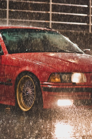 iPhone Wallpaper BMW E36 Touring red color, raining night