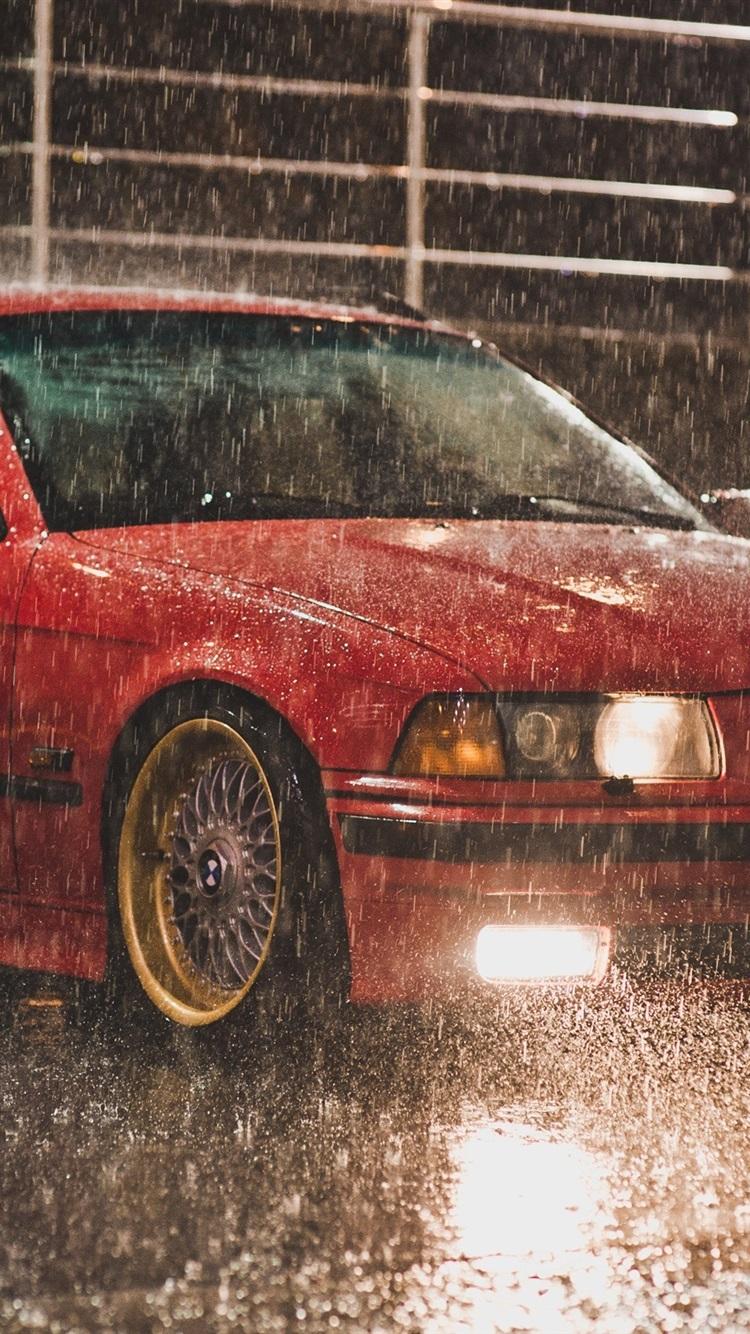 Fonds D écran Bmw E36 Touring Couleur Rouge Nuit Pluie