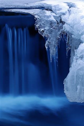 寒い雪の冬 氷 川 青 750x1334 Iphone 8 7 6 6s 壁紙 背景 画像