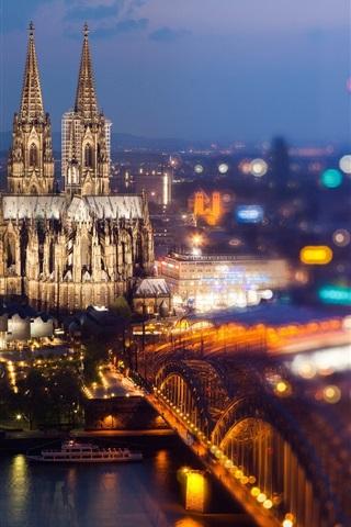 Koln Deutschland Kolner Dom Rhein Brucke Stadt Nacht Leuchtet 1920x1200 Hd Hintergrundbilder Hd Bild