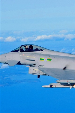 iPhone Wallpaper Eurofighter Typhoon EF2000 fighter, missile launch