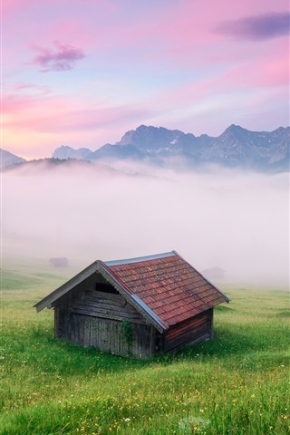 iPhone Wallpaper Germany scenery, the Alps, fog, houses