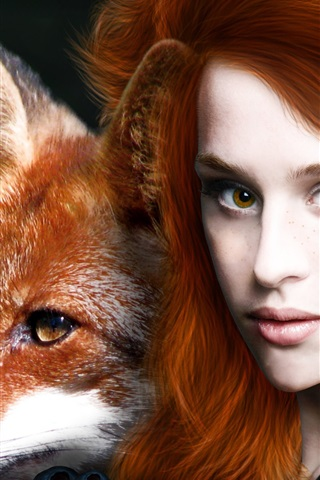 iPhone Wallpaper Red haired fantasy girl with animal fox