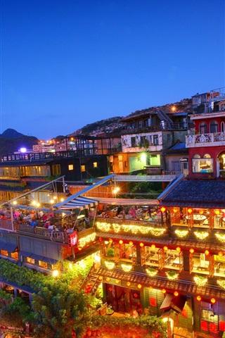 iPhone Wallpaper Taiwan, New Taipei City, Jioufen, night, houses, lights