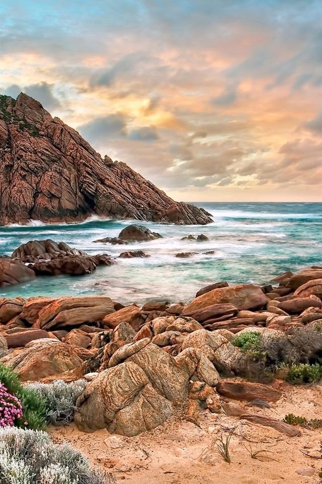 Australia Costa Oeste Playa Piedras Sunset 640x960 Iphone