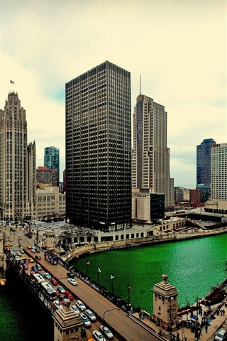 iPhone Wallpaper Chicago, Illinois, skyscrapers, water, bridge