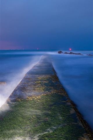 iPhone Wallpaper England, dusk, bay, sea, stones, moss