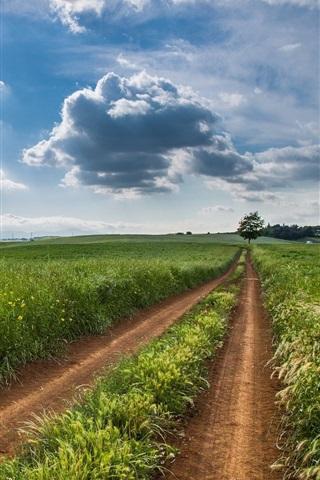 iPhone Wallpaper Farm fields, road, clouds