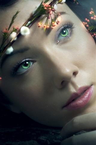 iPhone Wallpaper Flower wreath, green eyes girl