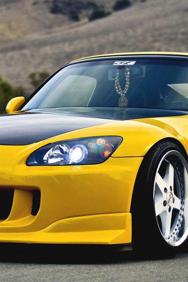 Honda S2000 Yellow Supercar 640x1136 Iphone 5 5s 5c Se