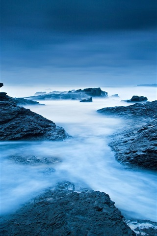 iPhone Wallpaper Ireland, Atlantic Ocean, sea, ocean, rocks, blue colors