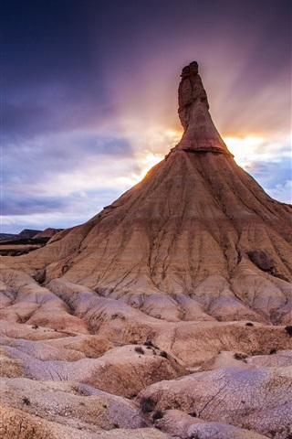 iPhone Wallpaper Northern Spain, The Bardenas Reales National Park, mountain, sunset
