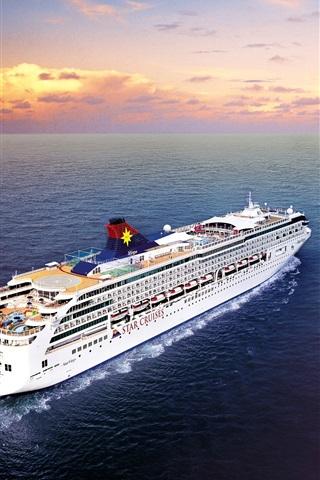 iPhone Wallpaper Passenger ship, sea, clouds, dawn