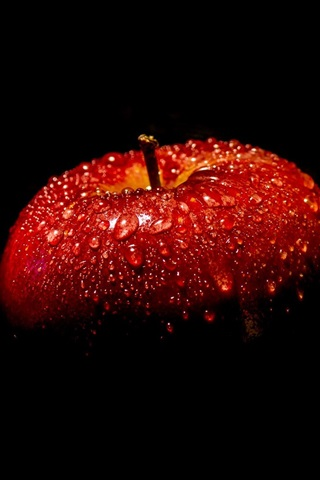 iPhone Wallpaper Red apple, black background