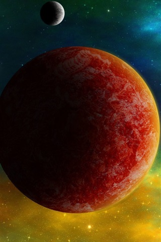 iPhone Wallpaper Red planets, space color