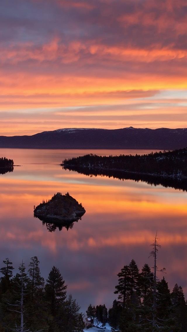 Lake Tahoe Winter Wallpaper Desktop Background: Wallpaper USA, California, Lake Tahoe, Morning Scenery