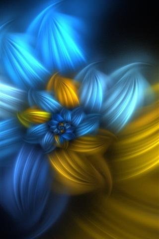 iPhone Papéis de Parede Flores abstratas, azul e amarelo