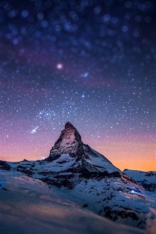 iPhone Wallpaper Alps, Matterhorn, Zermatt, Switzerland, evening, stars
