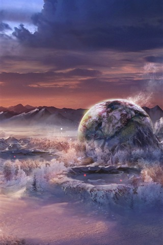 iPhone Wallpaper Art landscape, fantasy world, mountains, planets, sunset