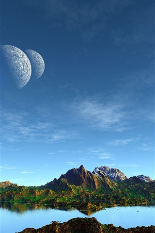iPhone Papéis de Parede Arte da paisagem, montanhas, lago, planetas, céu azul
