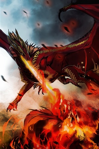 iPhone Wallpaper Art painting, dragon, monster, wings, fire