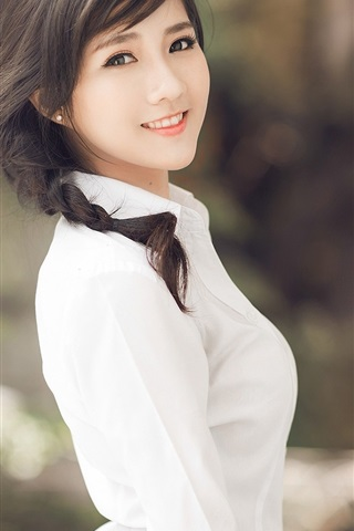 iPhone Wallpaper Asian girl, brunettes ponytails, white clothes