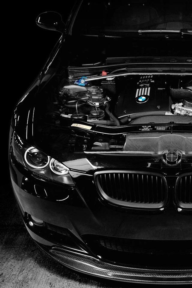 Bmw M3 Black Car Engine Tuning 640x960 Iphone 44s