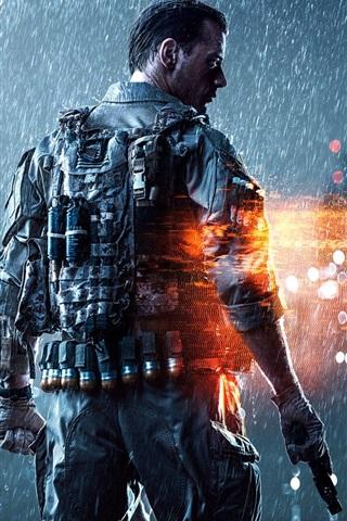 iPhone Papéis de Parede Battlefield 4 jogo para PC, soldado, chuva forte, a noite