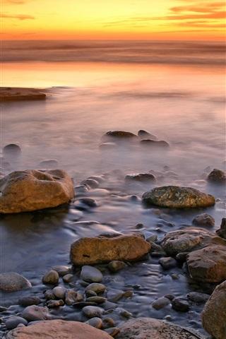 iPhone Wallpaper Coast landscape, beach, rocks, water, ocean, sea, sunset