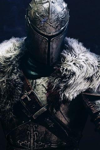 iPhone Papéis de Parede Dark Souls 2, guerreiro, fundo preto