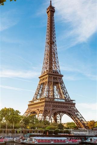 iPhone Wallpaper Eiffel Tower, Paris, France, the river Seine, boats, blue sky