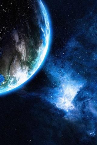 iPhone Wallpaper Galaxy, planets, light, stars, Earth