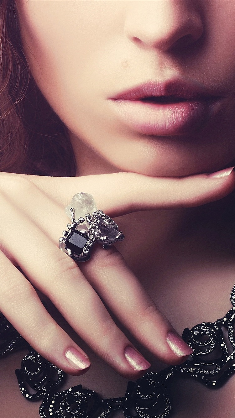 Girl Gemstone Rings Necklaces Jewelry 750x1334 Iphone 8 7