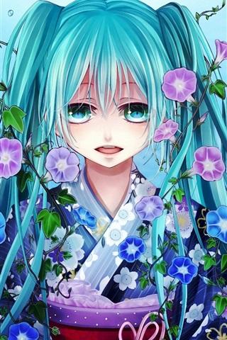 iPhone Wallpaper Hatsune Miku, blue hair girl, fish, water, flowers