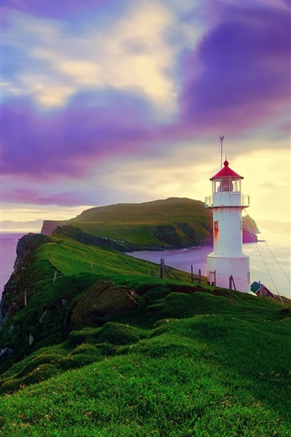 iPhone Wallpaper Iceland, Faroe Islands, lighthouse, summer, purple sky, coast