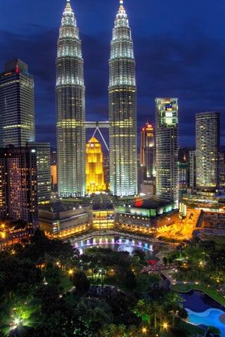 iPhone Wallpaper Kuala Lumpur, Malaysia, city night, lights, buildings