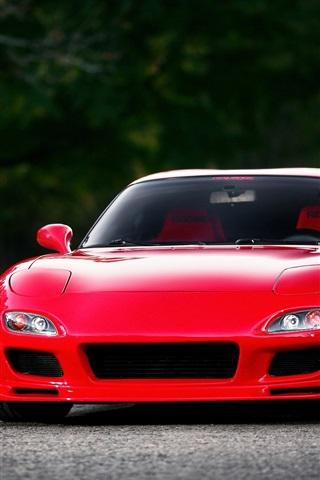 マツダrx 7 Fd赤スーパーカーのフロントビュー 640x1136 Iphone 5 5s 5c Se 壁紙 背景 画像