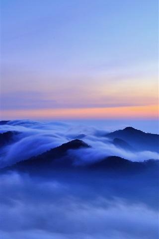iPhone Wallpaper Nature morning landscape, hills, clouds, fog, sunrise, blue
