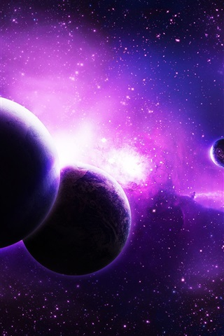 iPhone Wallpaper Purple planets, space, stars