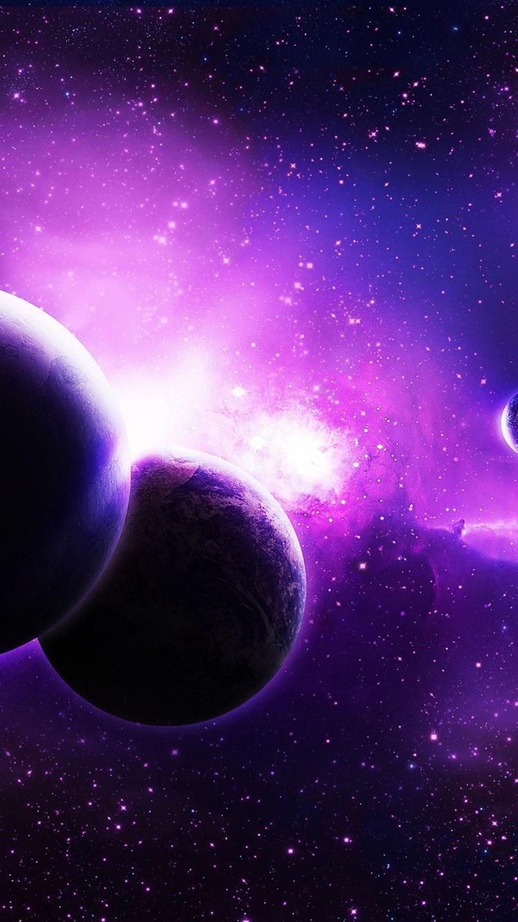 紫色的行星 空间 星750x1334 Iphone 8 7 6 6s 壁纸 图片 背景 照片