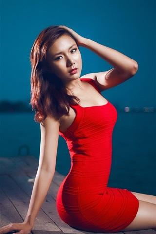 iPhone Wallpaper Red dress asian girl sitting at pier night